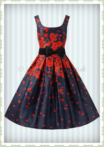 Dolly & Dotty 50er Jahre Vintage Retro Floral Petticoat Kleid - Amanda - Navy