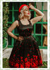 Dolly & Dotty 50er Jahre Vintage Retro Floral Petticoat Kleid - Amanda - Black