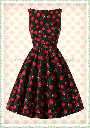 Lady Vintage 40er Jahre Retro Vintage Cherry Kleid - Tea Dress - Schwarz