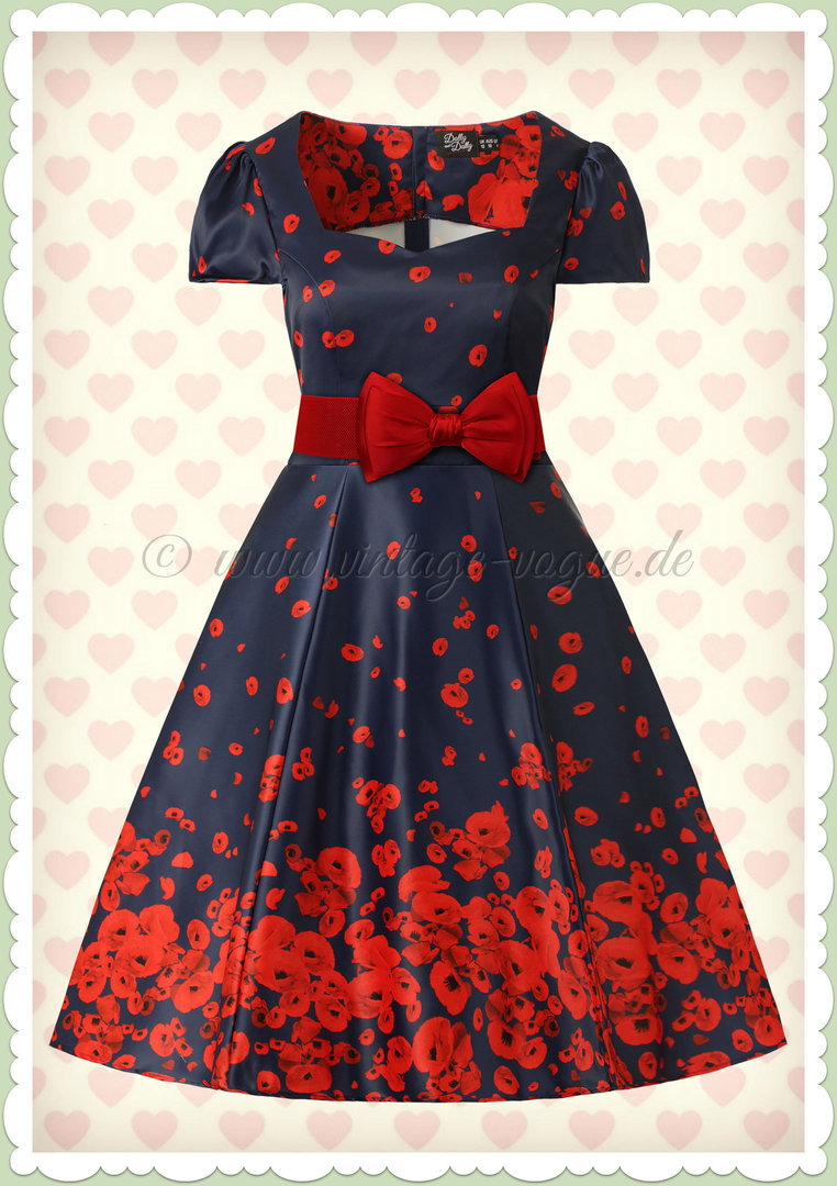 Dolly & Dotty 50er Jahre Rockabilly Floral Kleid - Claudia - Navy