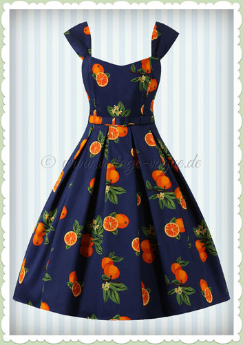 Collectif 50er Jahre Retro Rockabilly Orangen Kleid - Jill - Navy
