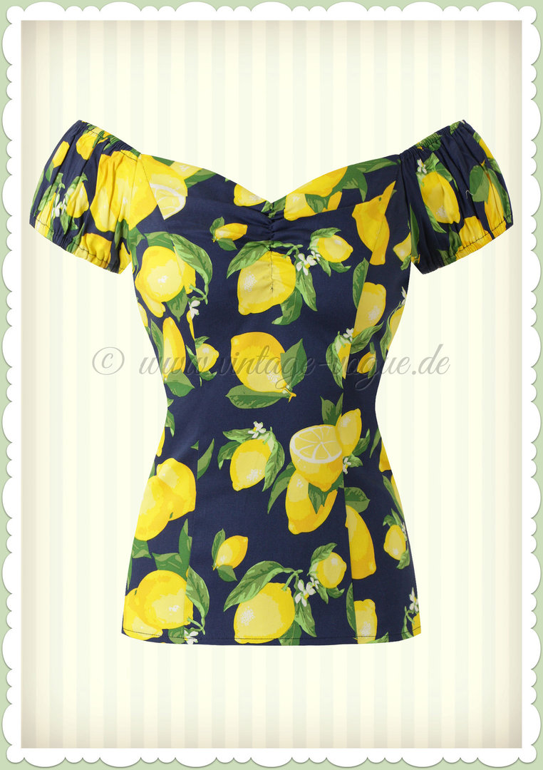 Banned 50er Jahre Pin Up Vintage Rockabilly Zitronen Top Shirt  - Lemon - Navy