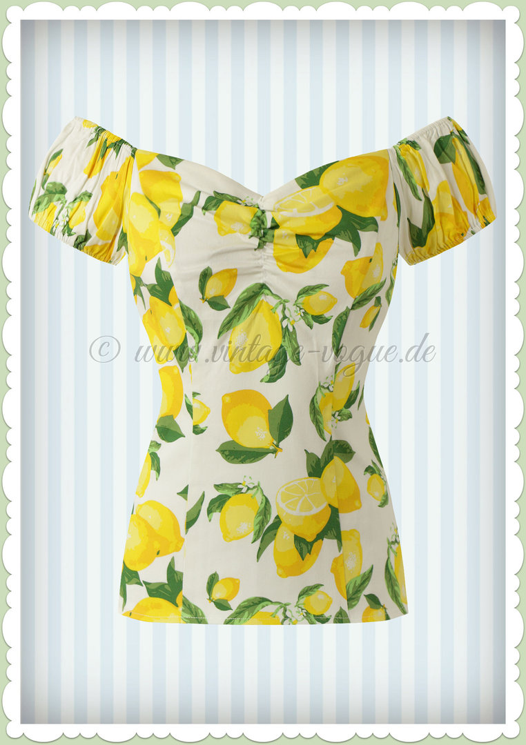 Banned 50er Jahre Pin Up Vintage Rockabilly Zitronen Top Shirt  - Lemon - Weiß