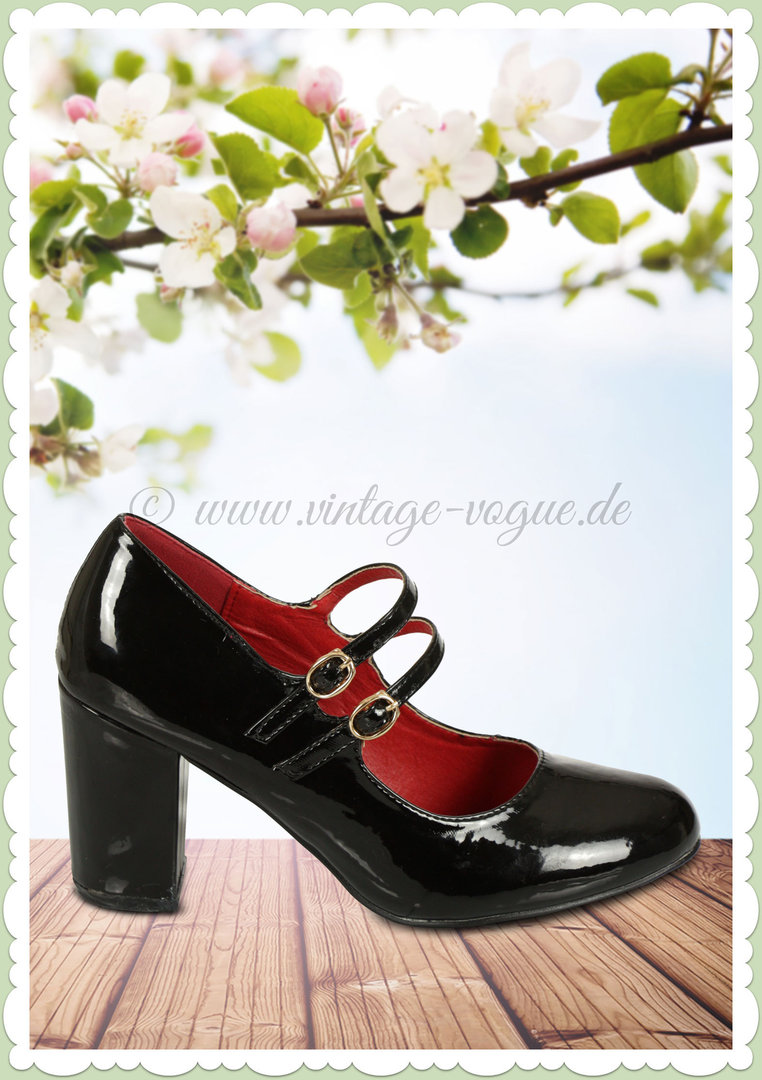 Banned 60er Jahre Rockabilly Vintage Riemchen Pumps - Golden Years - Schwarz