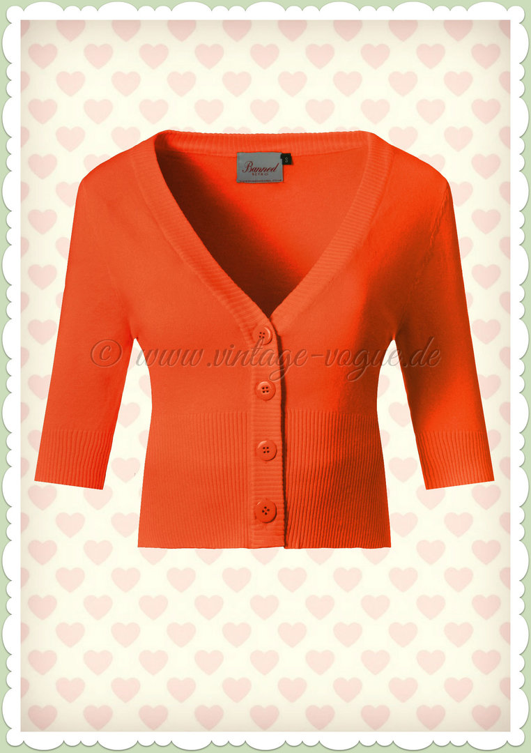 Banned 50er Jahre Vintage Rockabilly Cardigan - Overload - Orange