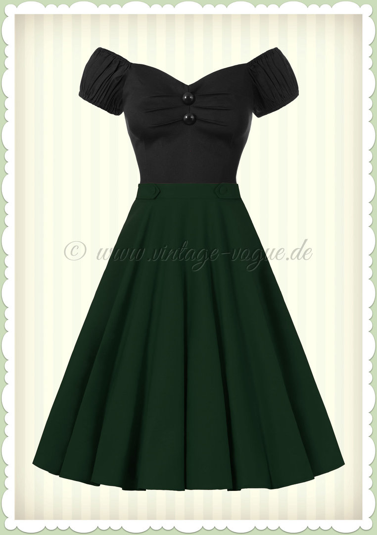 Banned 50er Jahre Retro Rockabilly Petticoat Rock - Di Di Skirt - Grün