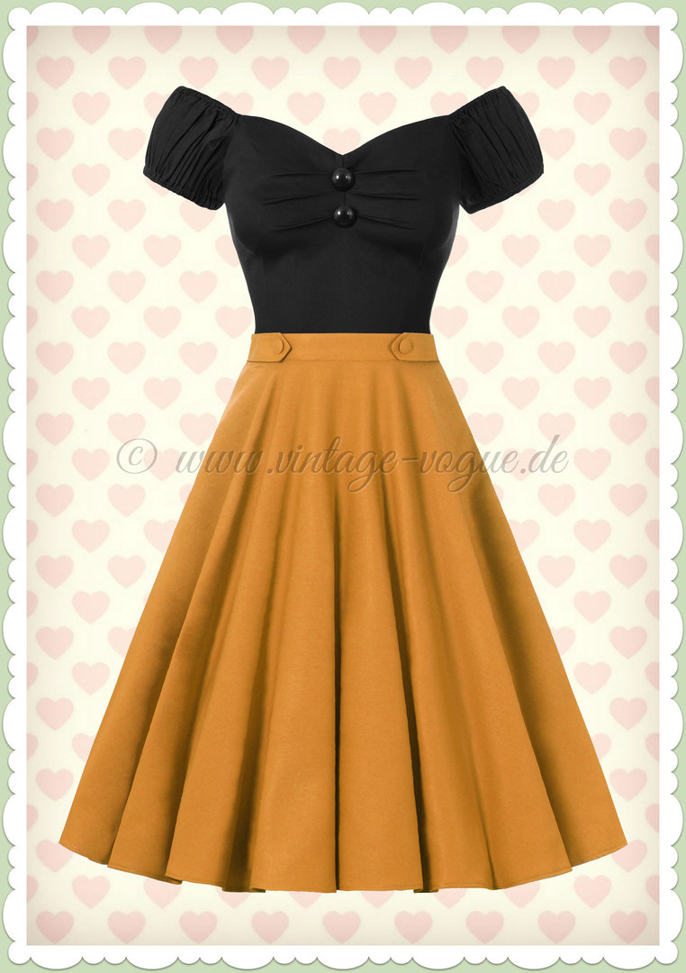 Banned 50er Jahre Retro Rockabilly Petticoat Rock - Di Di Skirt - Senfgelb