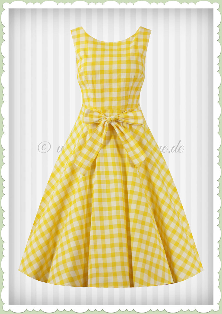 Collectif 50er Jahre Retro Rockabilly Gingham Swing Kleid - Frances - Gelb
