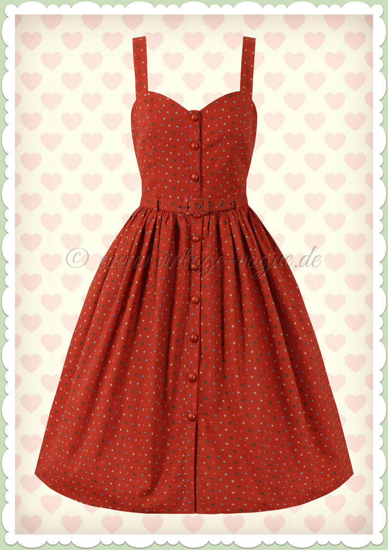Collectif 50er Jahre Retro Rockabilly Polka Dot Swing Kleid - Jemima - Orange