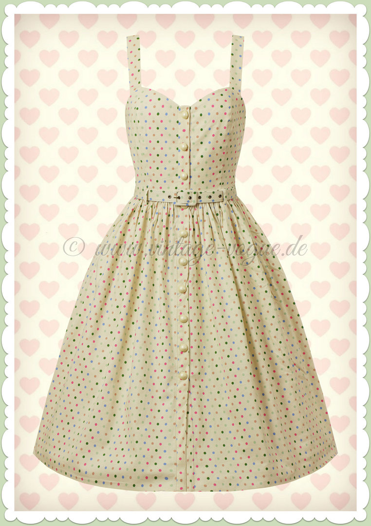 Collectif 50er Jahre Retro Rockabilly Polka Dot Swing Kleid - Jemima - Cream