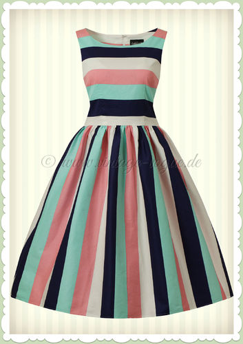 Collectif 50er Jahre Retro Rockabilly Streifen Swing Kleid - Candiche - Multicolor