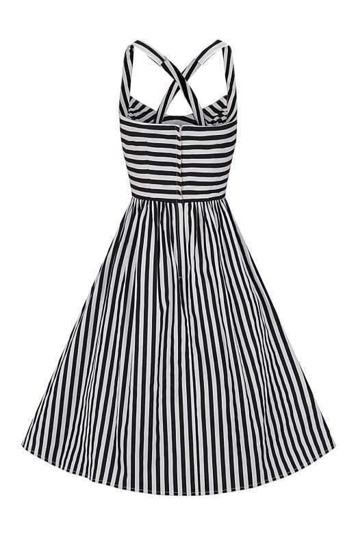 Collectif 50er Jahre Retro Rockabilly Streifen Swing Kleid ...