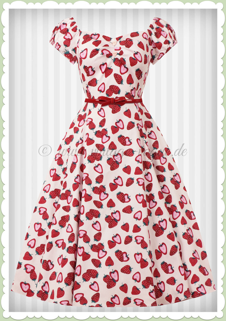 Collectif 50er Jahre Rockabilly Erbeer Petticoat Kleid - Dolores - Rosa