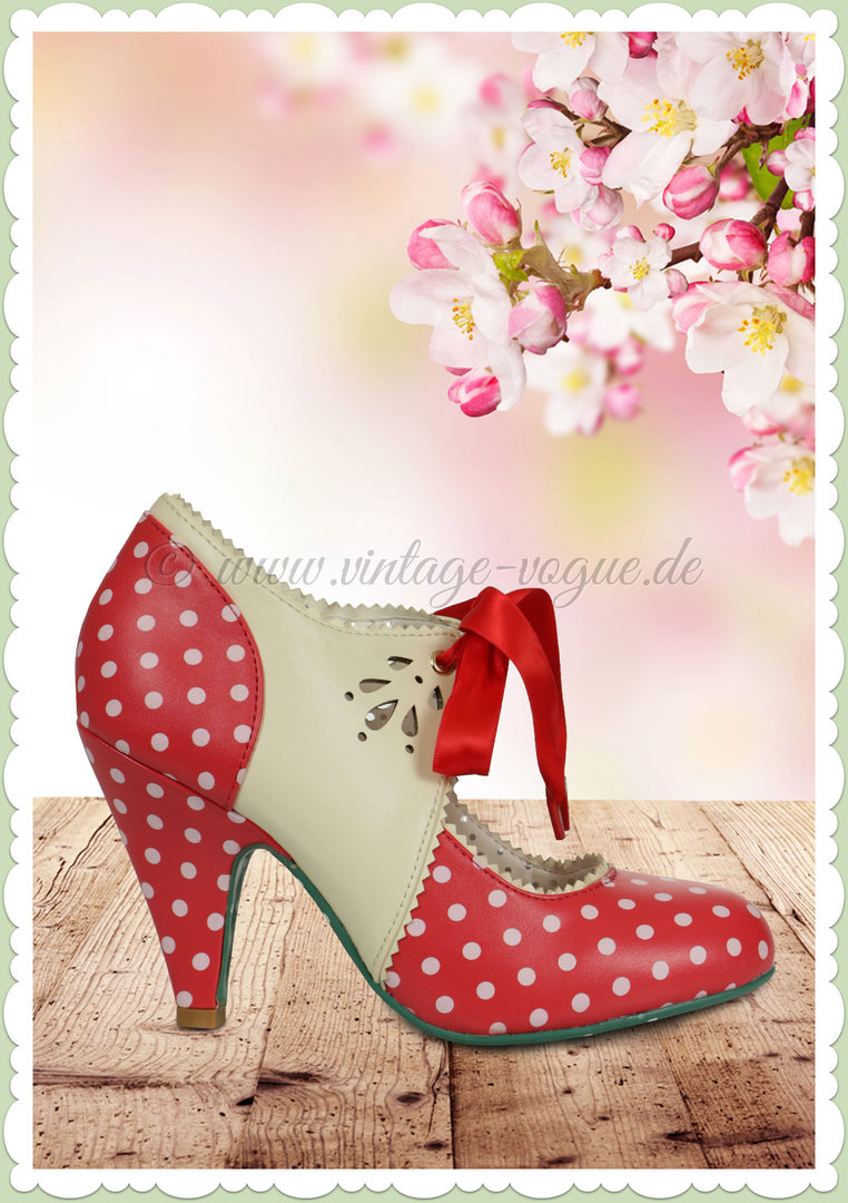 Banned 50er Jahre Rockabilly Vintage Punkte Pumps - Mary Beth - Rot