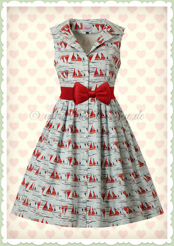 Banned 60er Jahre Rockabilly Maritim Swing Kleid - Sail Away - Hellblau