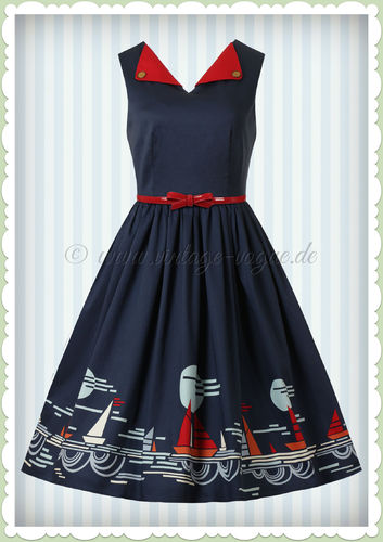 Banned 60er Jahre Rockabilly Maritim Swing Kleid - Summer Sail - Navy