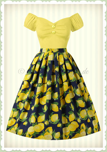 Banned 50er Jahre Rockabilly Zitronen Swing Rock - Lemon Pleat - Navy