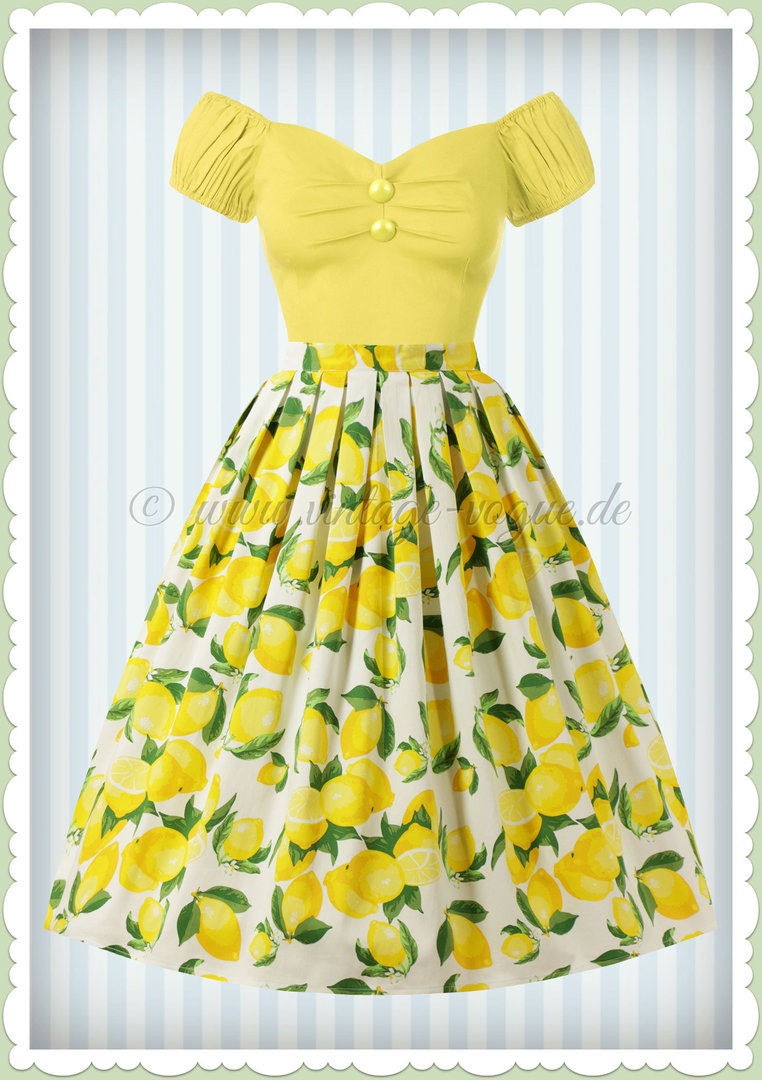 Banned 50er Jahre Rockabilly Zitronen Swing Rock - Lemon Pleat - Weiß