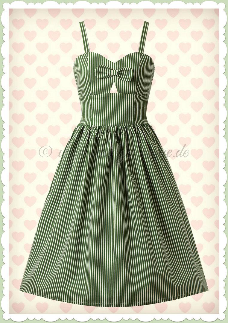 Banned 12er Jahre Rockabilly Streifen Swing Kleid - Stripes & Bows - Grün