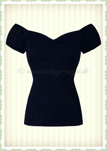 Banned 50er Jahre Pin Up Vintage Rockabilly Top Shirt  - Winnie - Navy