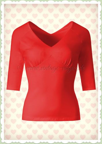 Banned 40er Jahre Rockabilly Vintage Basic Shirt - Betty - Rot