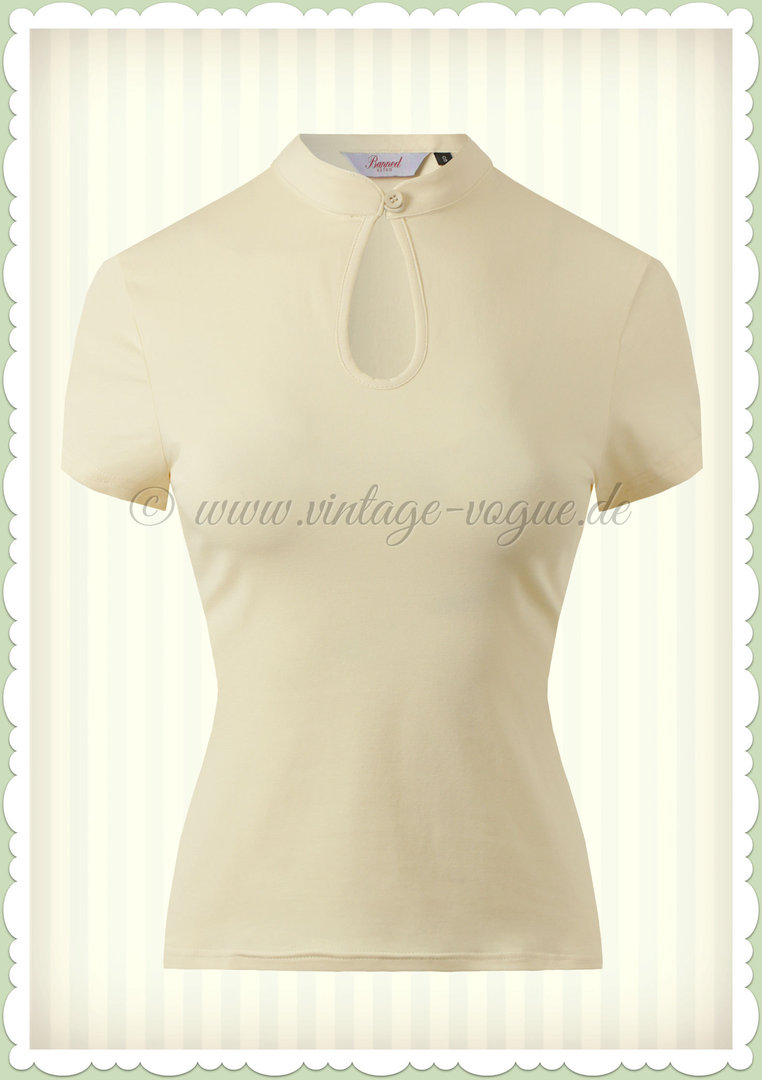 Banned 40er Jahre Rockabilly Vintage Basic Shirt - Mandarin Collar - Cream
