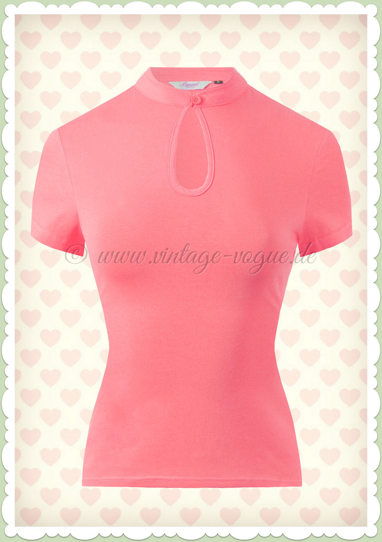 Banned 40er Jahre Rockabilly Vintage Basic Shirt - Mandarin Collar - Rosa