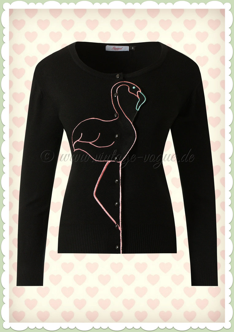 Banned 40er Jahre Vintage Retro Flamingo Cardigan - Flamingo Honnie - Schwarz