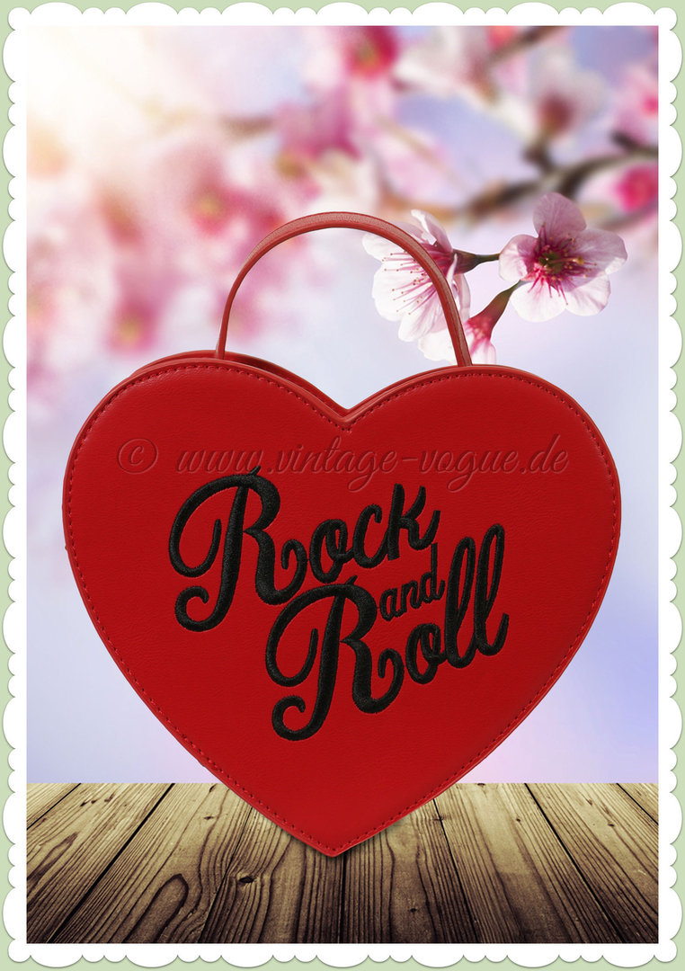 Collectif 50er Jahre Pin Up Herz Rock and Roll Tasche - Bina - Rot