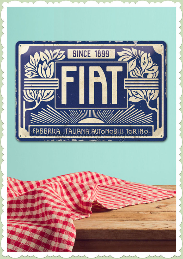 "Nostalgic Art Retro Blechschild ""Fiat - Since 1899 Logo Blue"""