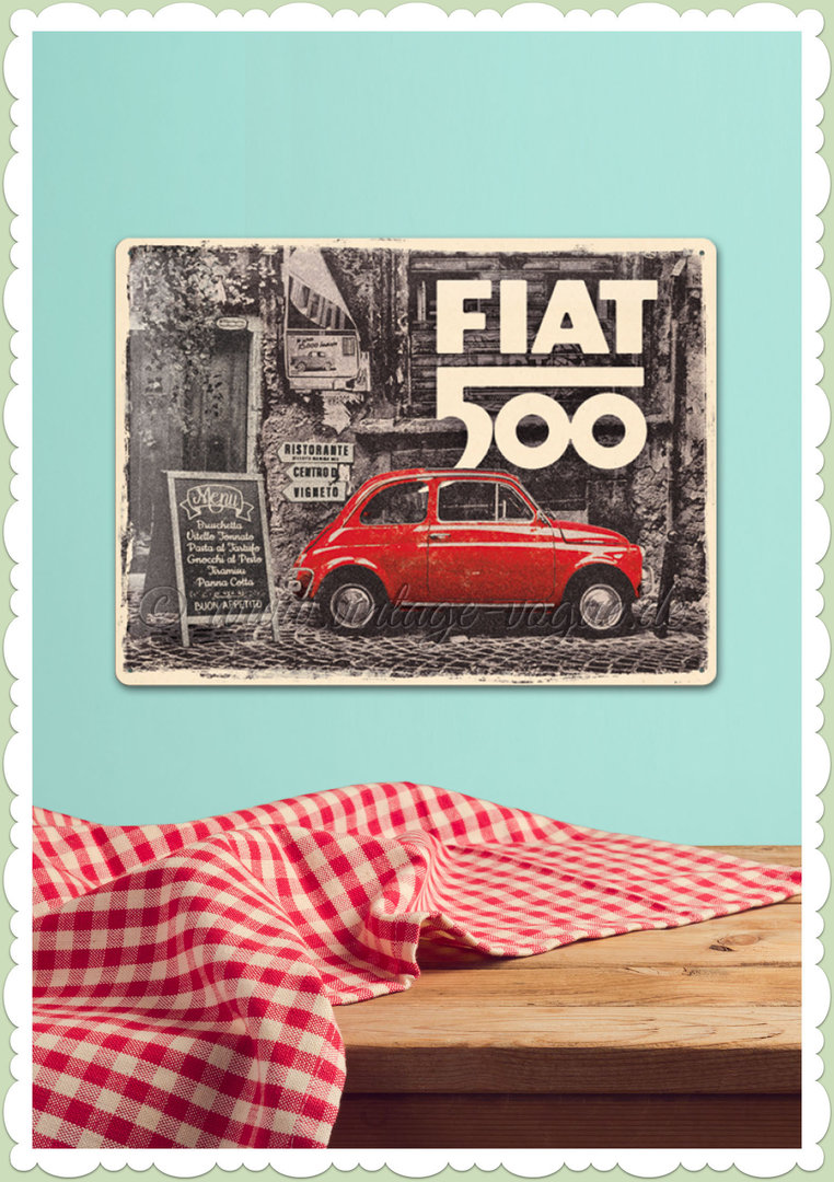 "Nostalgic Art Retro Blechschild ""Fiat 500 - Red car in the Street"""