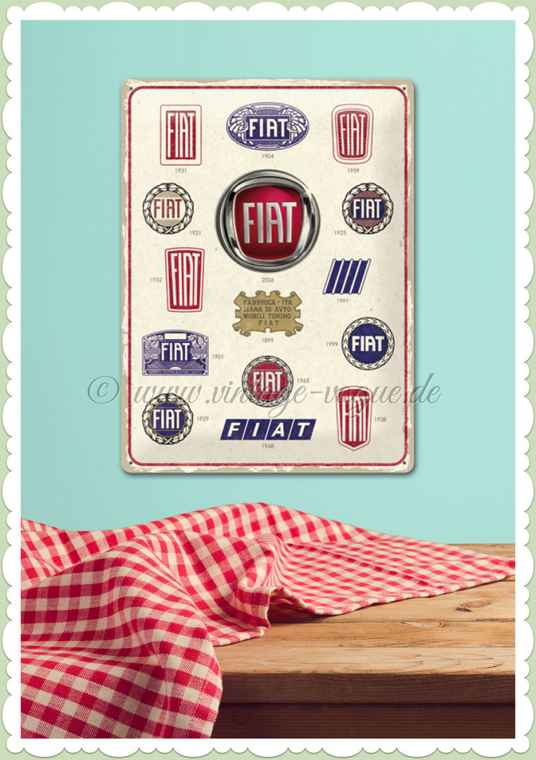"Nostalgic Art Retro Blechschild ""Fiat - Logo Evolution"""