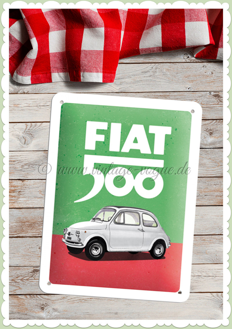 "Nostalgic Art Retro Blechschild ""Fiat 500 - Italian Colours"""
