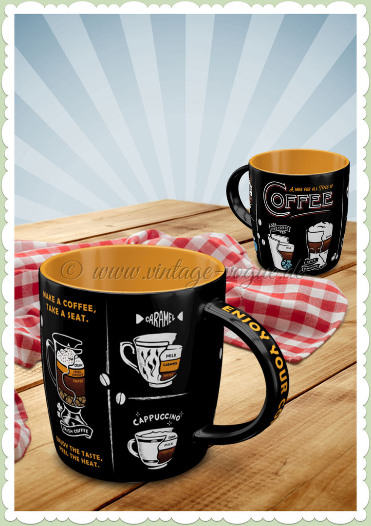 "Nostalgic Art Retro Kaffee Tasse ""All Types of Coffee"""