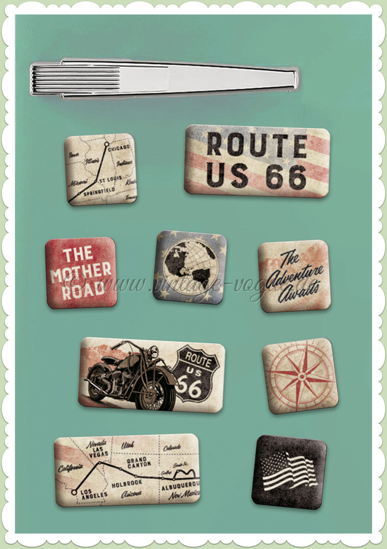 "Nostalgic Art Retro Vintage Magnet-Set ""Route 66 Bike Map"""