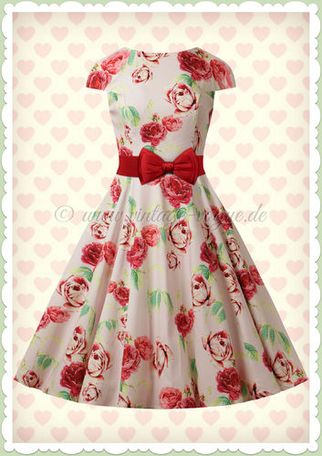 Hearts & Roses 50er Jahre Floral Petticoat Kleid - Shirl - Creme