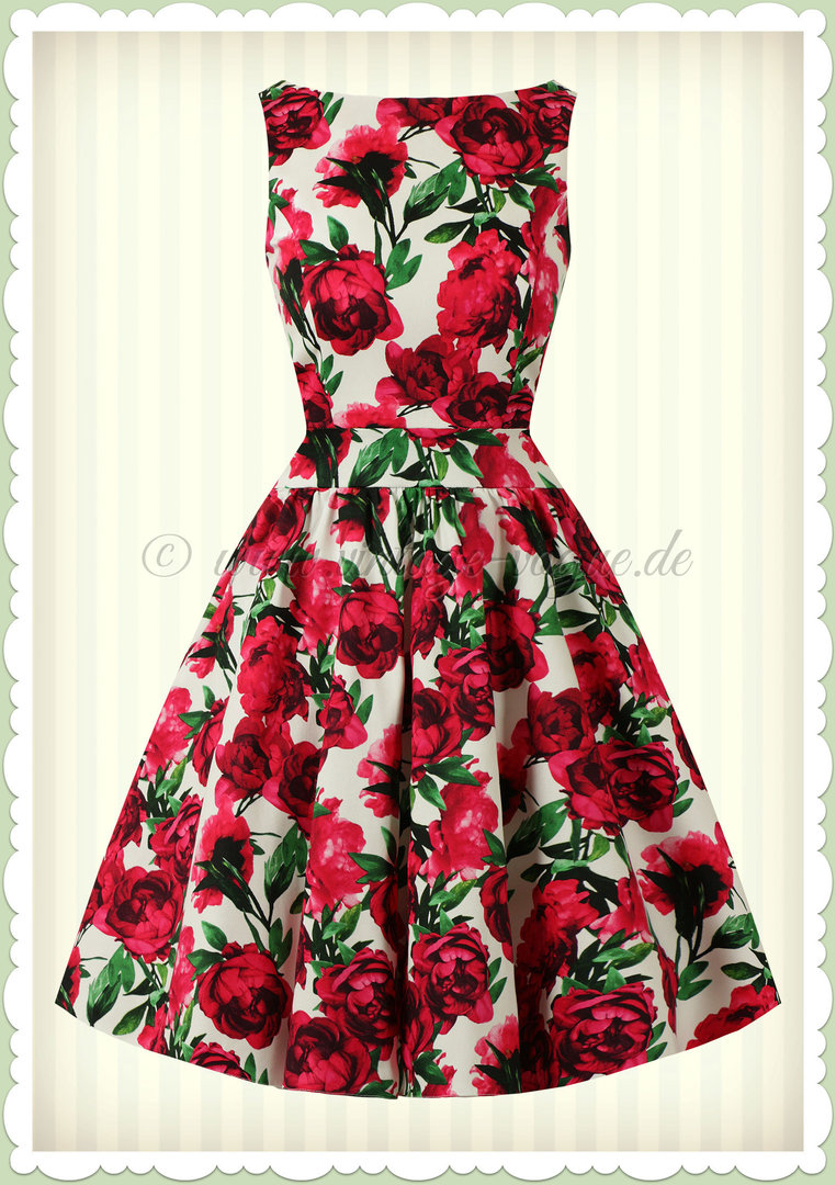 Lady Vintage 40er Jahre Retro Vintage Floral Kleid - Tea Dress - Weiß