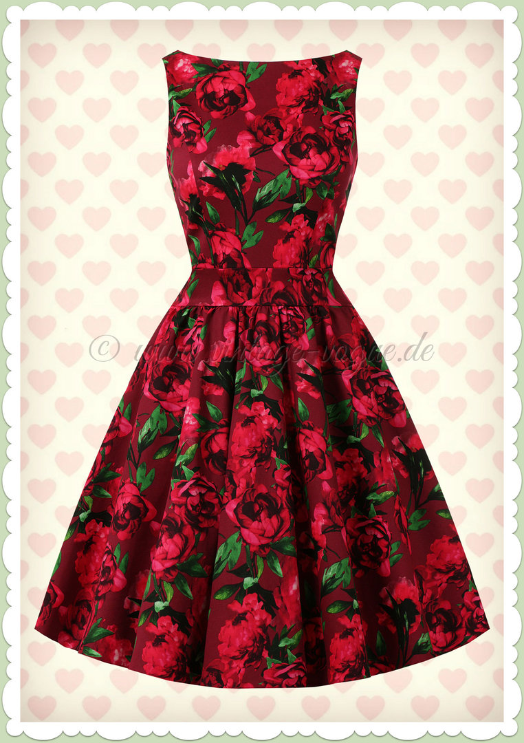 Lady Vintage 40er Jahre Retro Vintage Floral Kleid - Tea Dress - Rot