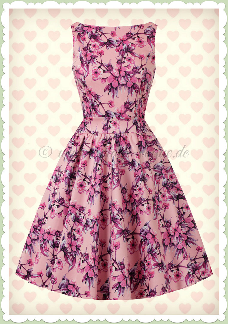 Lady Vintage 40er Jahre Retro Vintage Floral Kleid - Tea Dress - Pastelllila