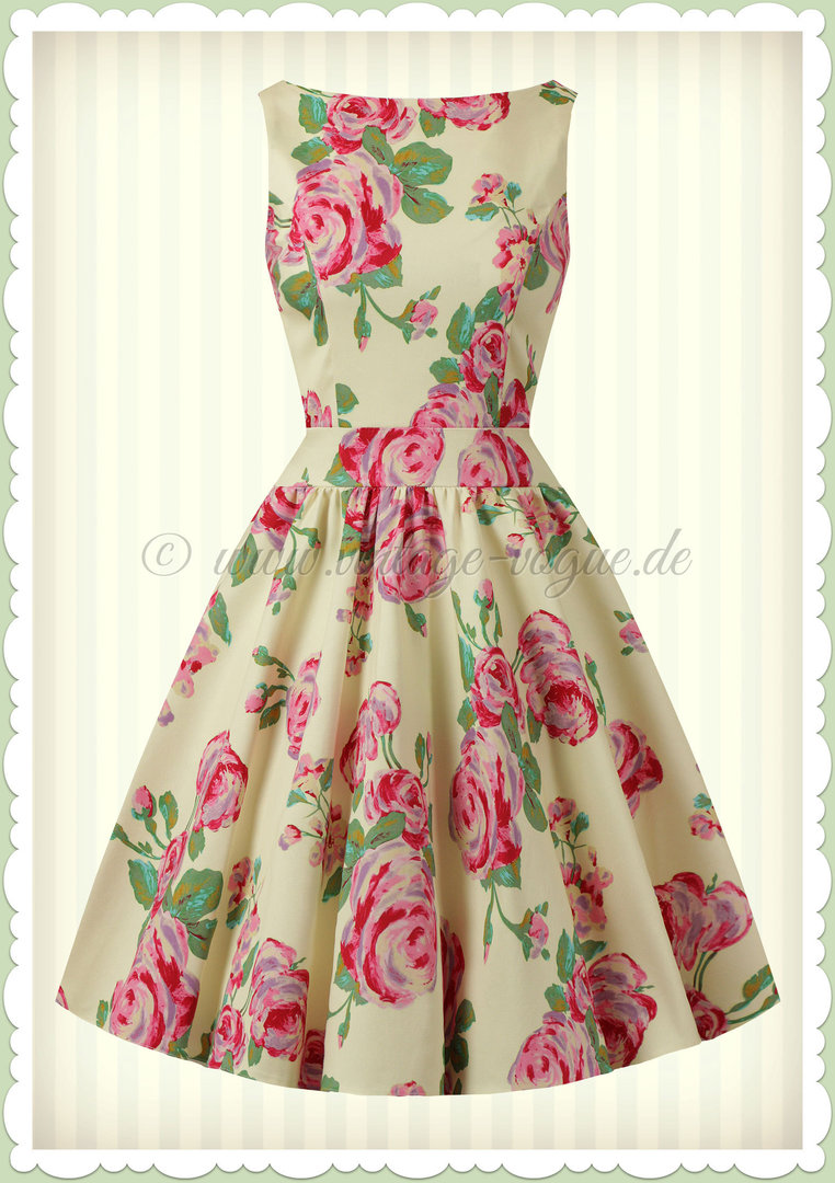 Lady Vintage 40er Jahre Retro Vintage Floral Kleid - Tea Dress - Creme