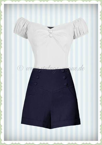 Banned 50er Jahre Retro Sailor Shorts Hose - Cute As A Button - Navy