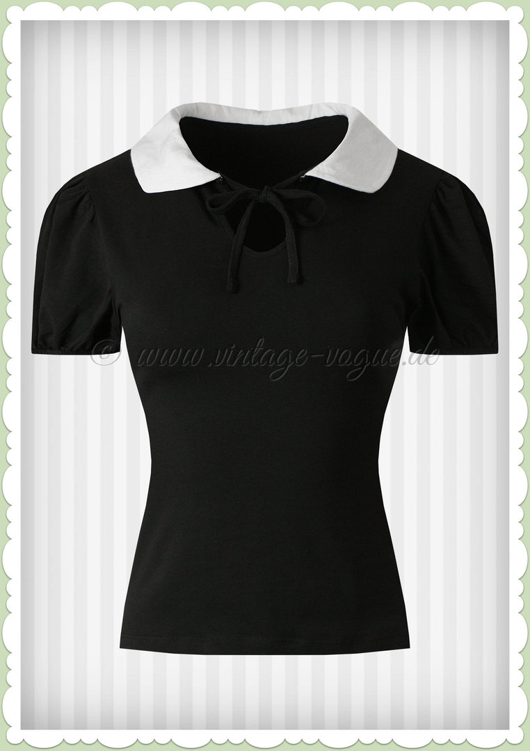 Collectif 40er Jahre Vintage Retro Basis Shirt - Khloe - Schwarz