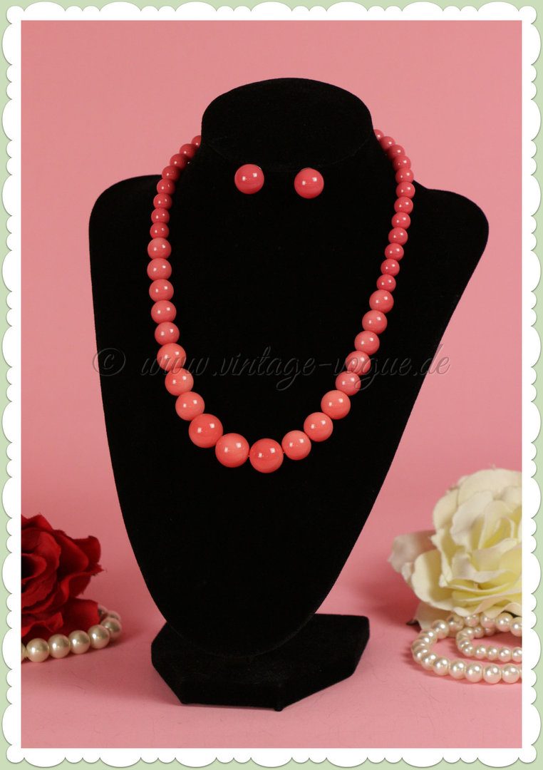 Collectif 50er Jahre Vintage Rockabilly Perlen Schmuck Set - Bead - Coral