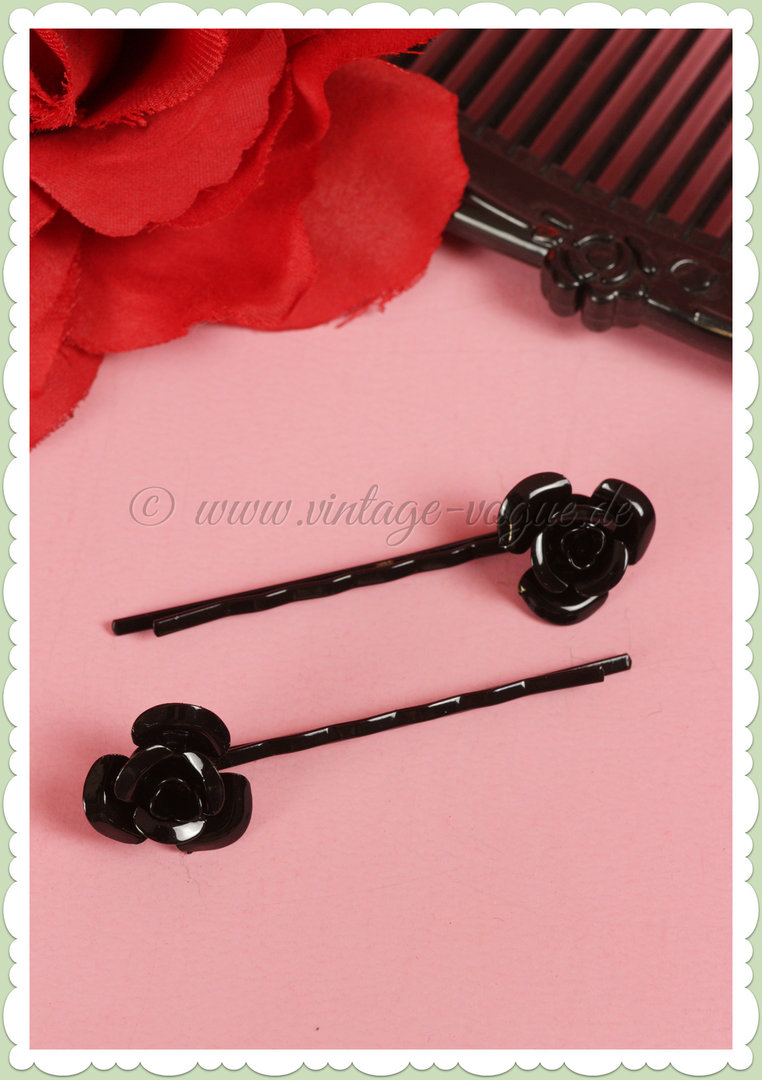 Banned 50s Pin Up Rockabilly Retro Rosen Haarclip - Schwarz