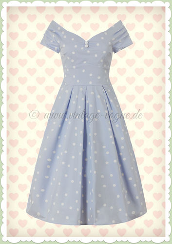 Dolly & Dotty 50er Jahre Rockabilly Polka Dot Kleid - Lilij - Hellblau