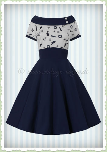 Dolly & Dotty 50er Jahre Rockabilly Maritim Kleid - Darlene - Navy