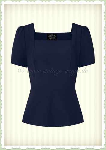 Hearts & Roses 50er Jahre Volant Basic Top - Beatrize - Navy