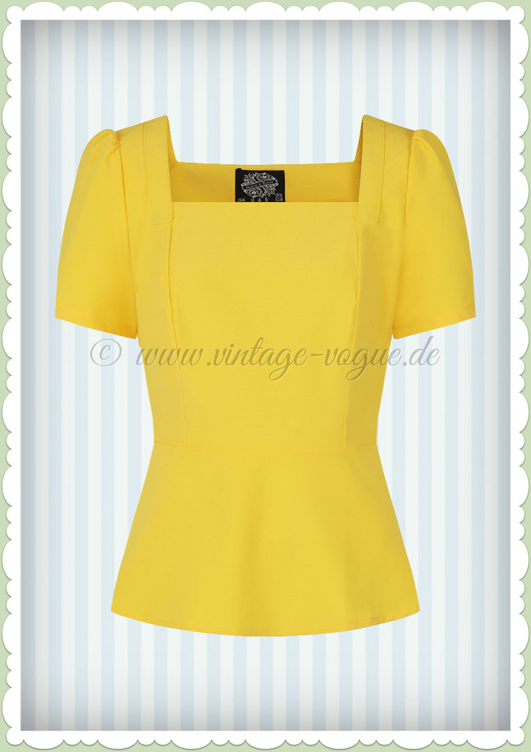 Hearts & Roses 50er Jahre Volant Basic Top - Beatrize - Gelb