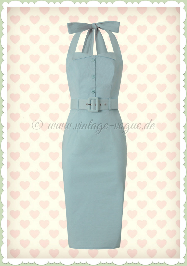Collectif 50er Jahre Pin Up Rockabilly Pencil Kleid  - Wanda - Hellblau