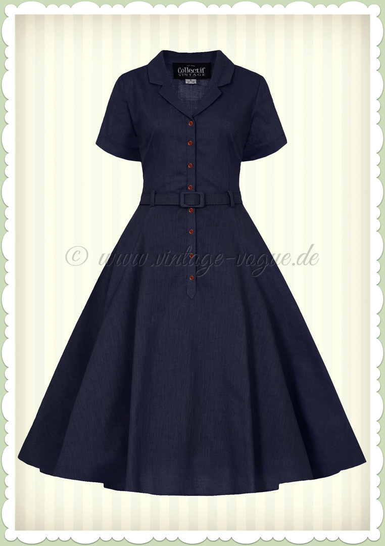 Collectif 40er Jahre Vintage Retro Kleid - Caterina - Navy